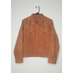 Relativity Button Jacket Long Sleeves Brown Large